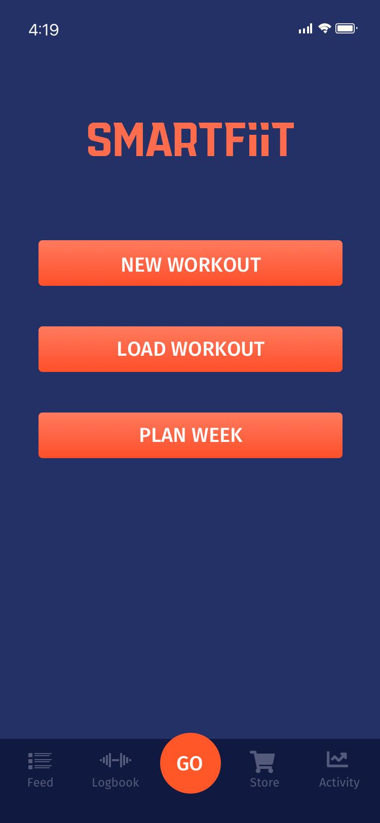 SmartFiit Workout screen