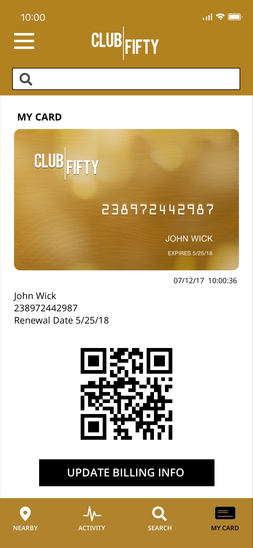 Club Fifty scannable QR code card