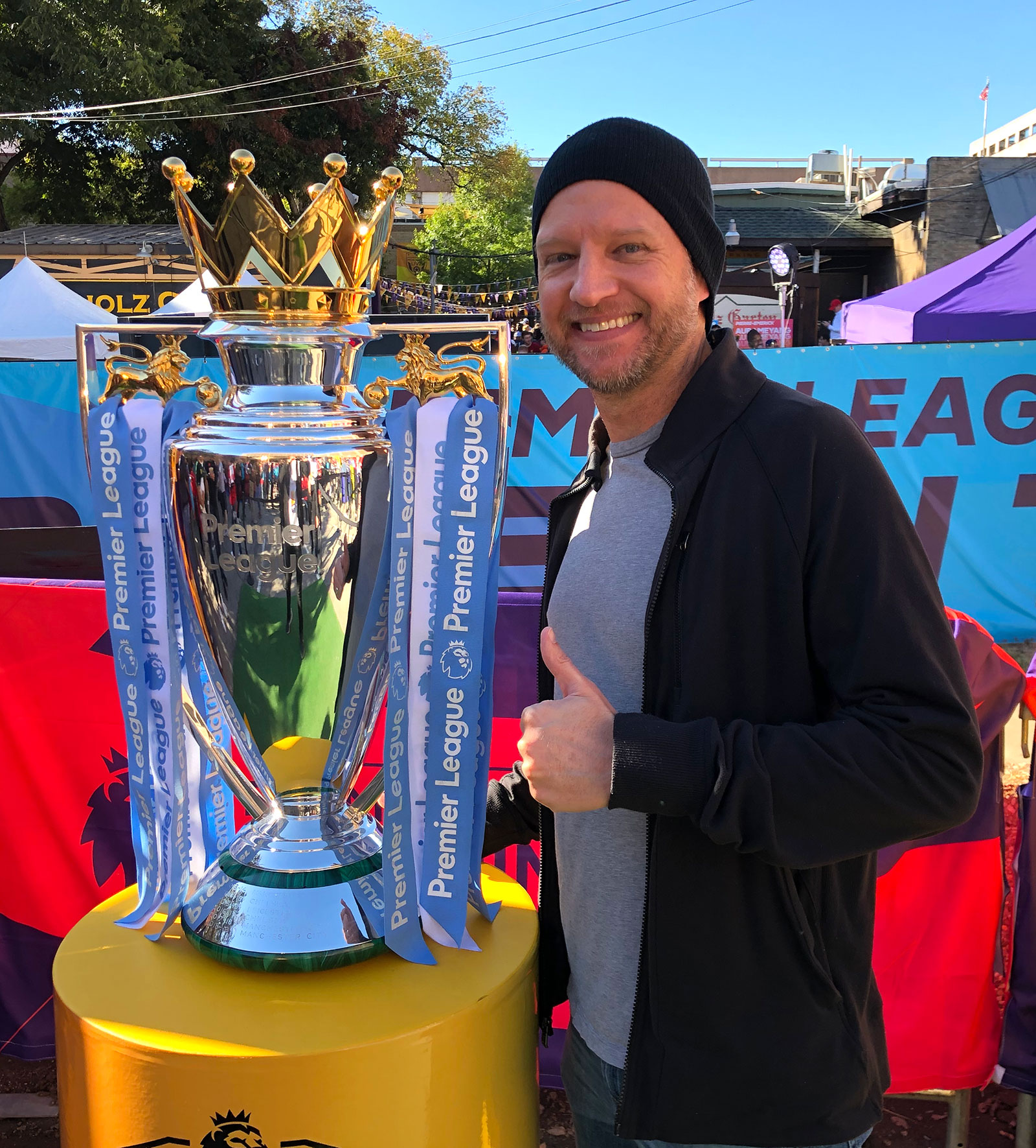 With the Premier League trophy